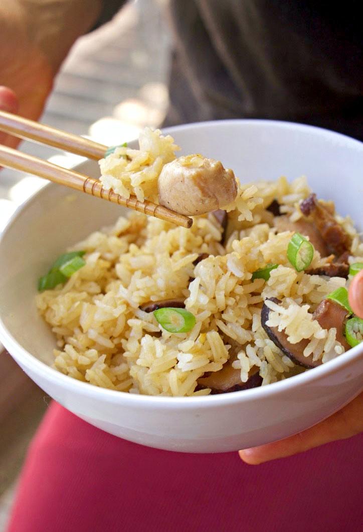 Mum's Fragrant Cantonese Chicken & Mushroom Rice (GF, Dairy Free, Oil-Free)