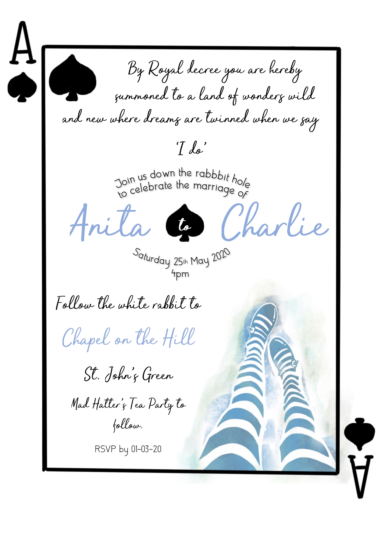 inked by hand 1 - wedding stationery - water colour - alice in wonderland wedding day - inspiration - alternative - unconventional