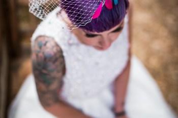 Peacock barns - alternative unconventional wedding photoshoot - rustic decadent - bride tattoo - bridal hair