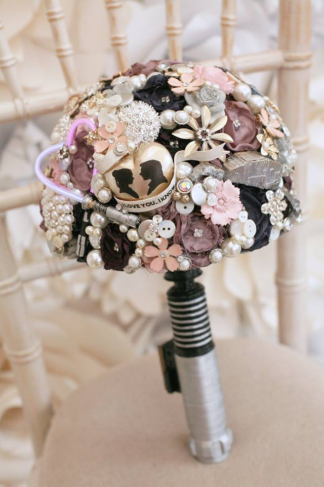 Maddison Rocks Floral Sculptures - star wars wedding inspiration - alternative wedding bouquet - alternative wedding accessories - lightsaber