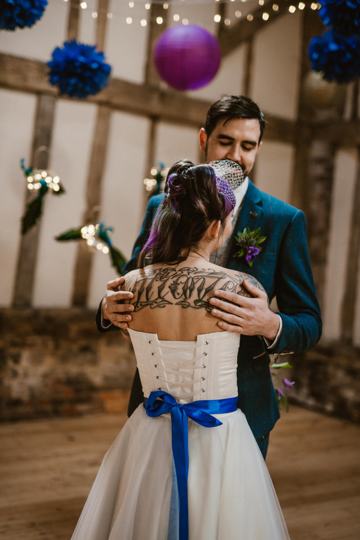 Peacock barns - alternative unconventional wedding photoshoot - rustic decadent - first dance - tattooed bride
