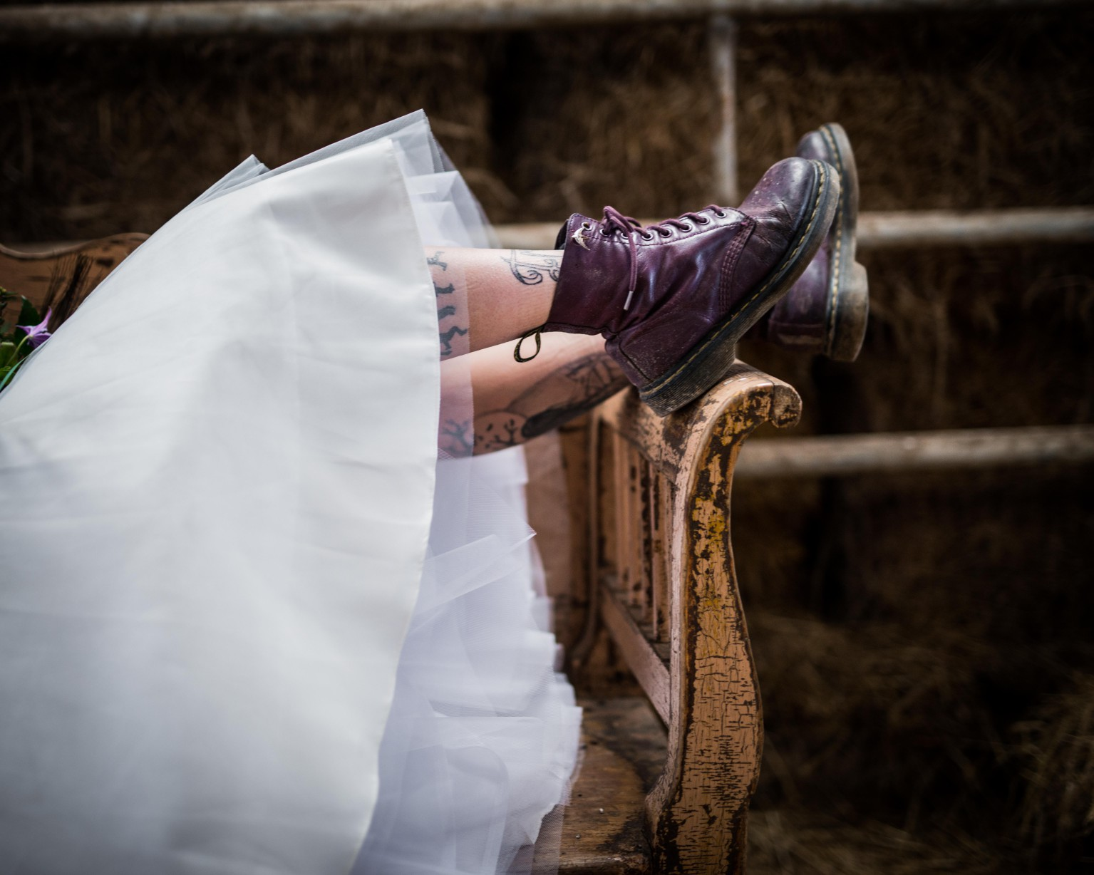Peacock barns - alternative unconventional wedding photoshoot - rustic decadent - purple DM's - bride