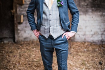 Peacock barns - alternative unconventional wedding photoshoot - rustic decadent - groom in suit - barn