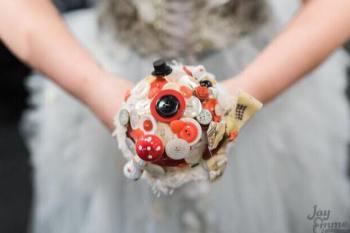 Alice in Wonderland wedding inspiration - custom alternative bouquet - alternative and unconventional wedding