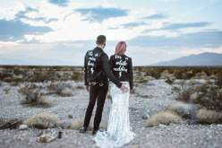 Sammy Lea's Retro Emporium - beach wedding - his and her custom leather jackets - alternative unconventional