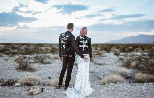 Sammy Lea's Retro Emporium - beach wedding with custom leather jackets