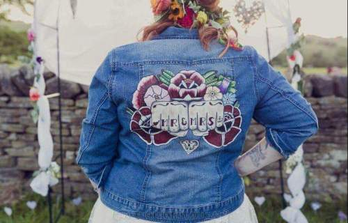 Sammy Lea's Retro Emporium - custom denim jacket wedding