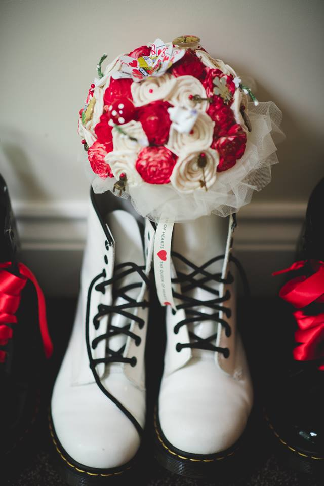 Alice in Wonderland wedding inspiration - boots at the door - alternative and unconventional wedding