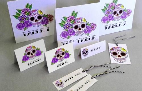 Rae Henry Designs - Wedding Stationery - Purple Sugar Skulls