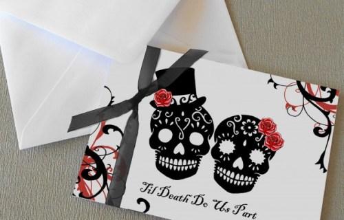 Rae Henry Designs - Wedding Stationery - Till death do us part Skulls - Black Red