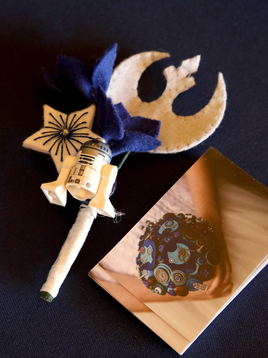 Star Wars wedding inspiration - by Pink Photographics - alternative wedding button hole by charlotte laurie designs with R2D2