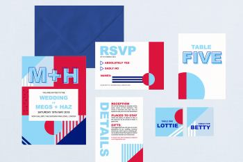 Wedding Stationery from Letters from Emily - unconventional royal weddiing - red white blue - wedding stationery