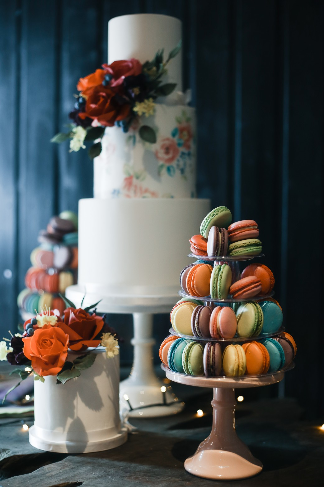 Becky Payne Photographer - Rainbow Unicorn Styled Wedding Shoot - wedding cake - macaons - colourful
