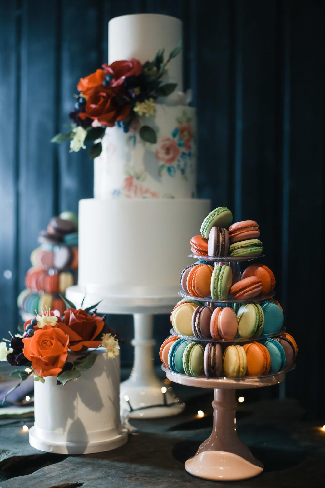 Becky Payne Photographer - Rainbow Unicorn Styled Wedding Shoot - wedding cake - macaons - colourful