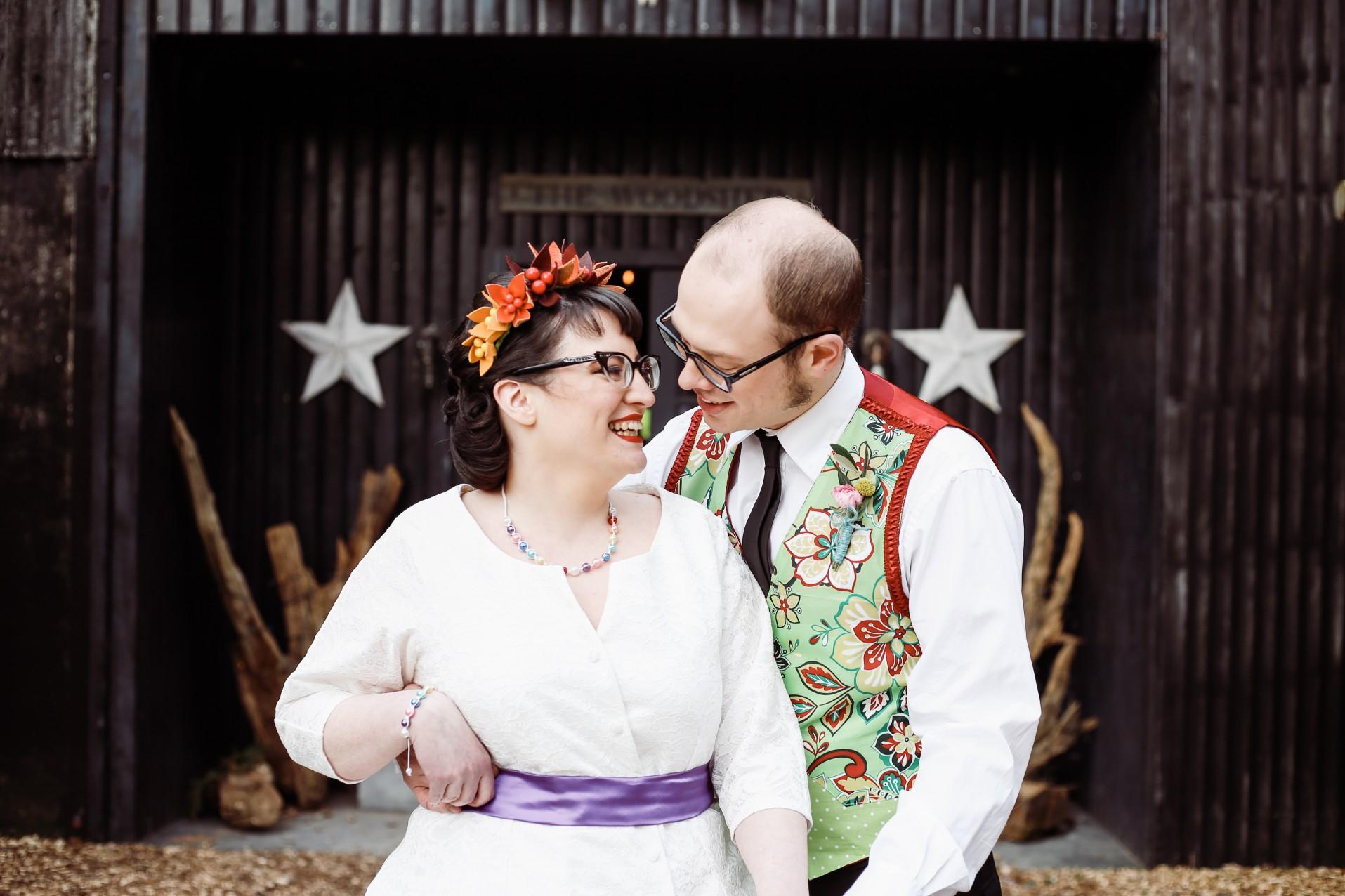 Becky Payne Photographer - Rainbow Unicorn Styled Wedding Shoot - Woods - Couple shot 3