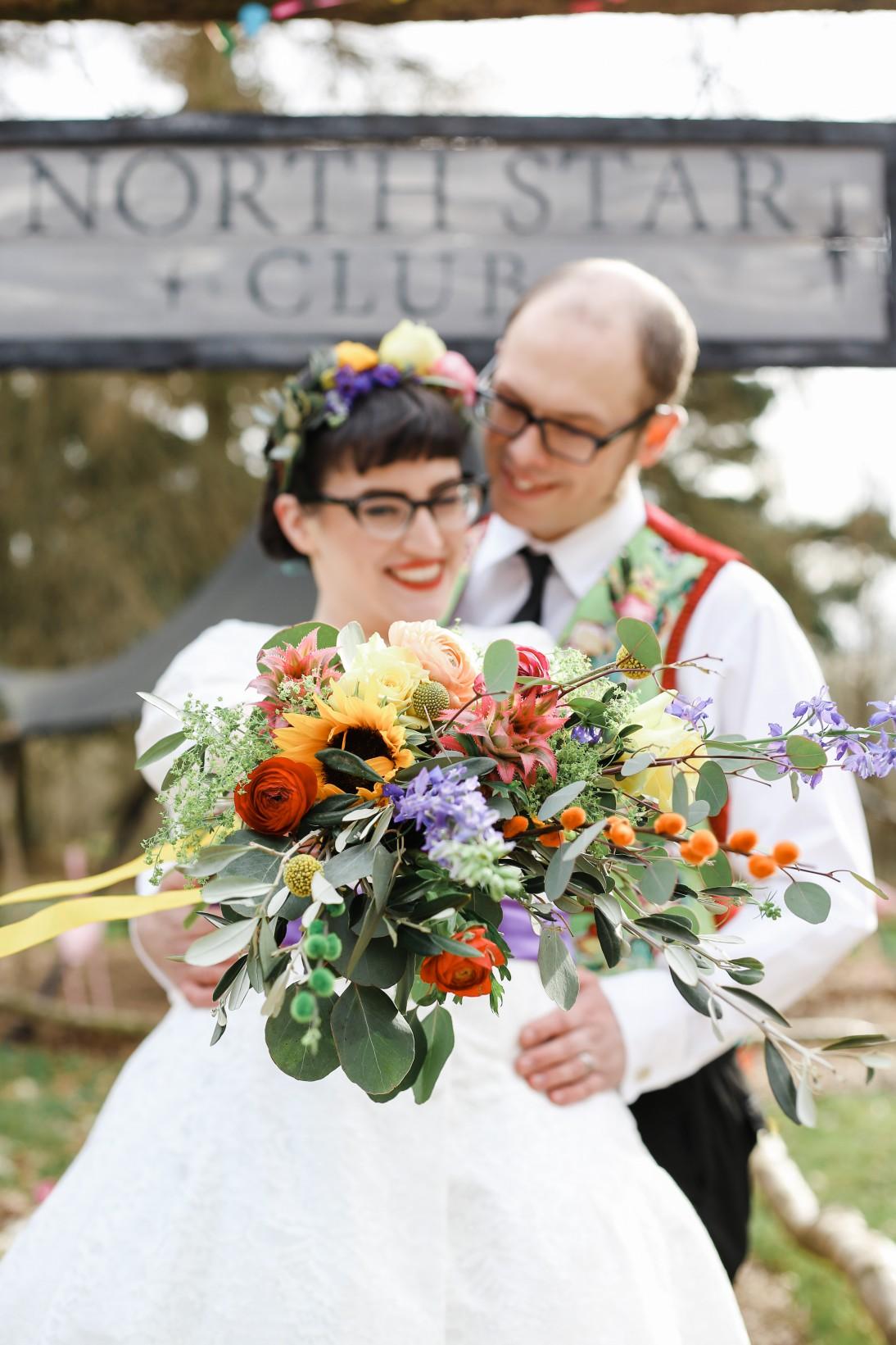 Becky Payne Photographer - Rainbow Unicorn Styled Wedding Shoot - Bright wedding flowers - colourful wedding flowers