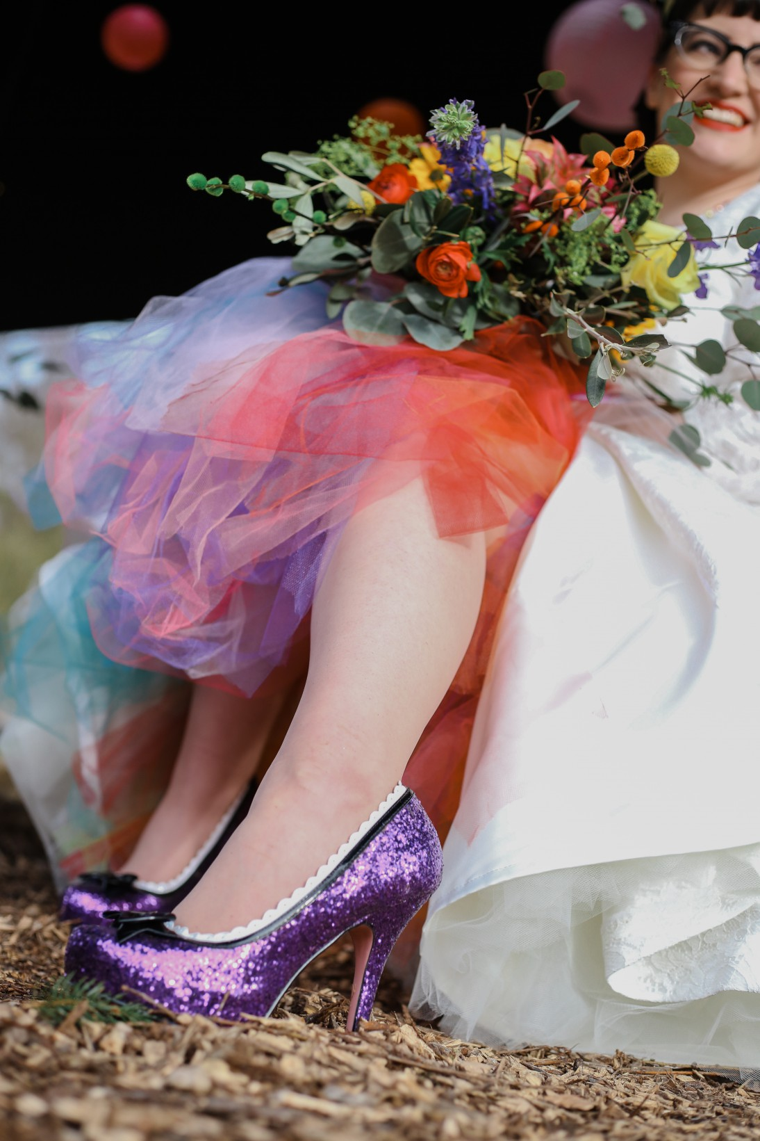 Becky Payne Photographer - Rainbow Unicorn Styled Wedding Shoot - Bright colours tutu- alternative bridal wear - alternative wedding dress