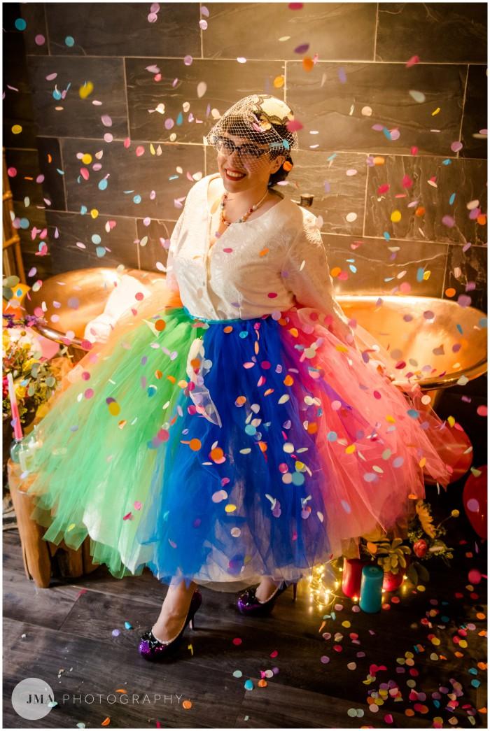 Jemma Mickleborough Photographer - Rainbow Unicorn Wedding - Northstar Club - Tutu alternative wedding dress - alternative bridalwear - multi coloured