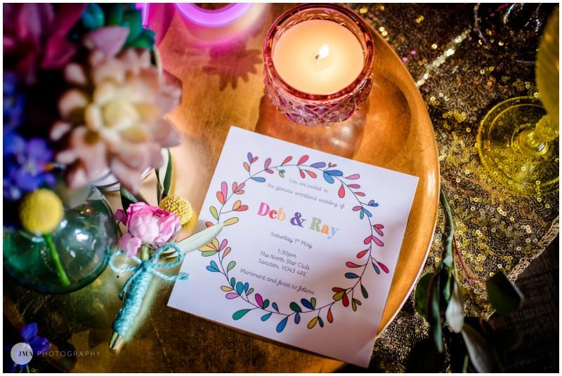 Jemma Mickleborough Photographer - Rainbow Unicorn Wedding - Northstar Club - Wedding Styling - Wedding Stationery