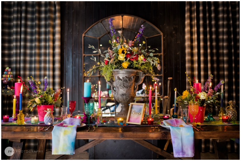 Jemma Mickleborough Photographer - Rainbow Unicorn Wedding - Northstar Club - Tablescape - Table set up