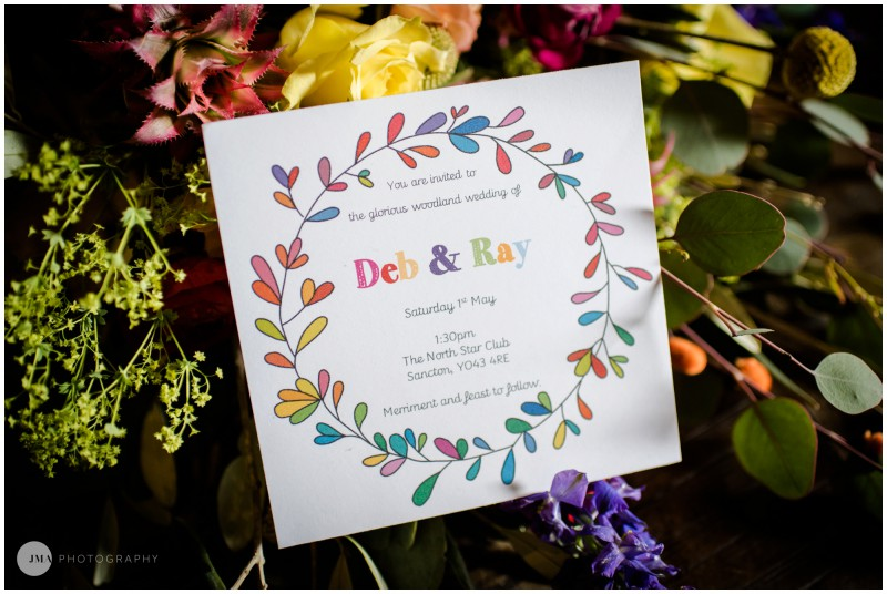 Jemma Mickleborough Photographer - Rainbow Unicorn Wedding - Northstar Club - Tablescape - Colourful wedding invitation - watercolour