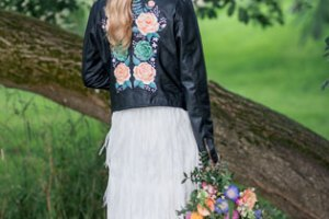 ophelia rose hand painted - magical bridal leather jacket with pink and green flowers