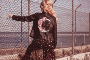 ophelia rose hand painted - bridal leather jackets with bespoke moon and flowersdesigns