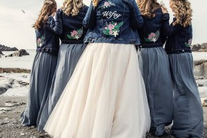 ophelia rose hand painted - bride tribe picture with handpainted denim jackets for bride and bridesmaids with wifey, flowers and star