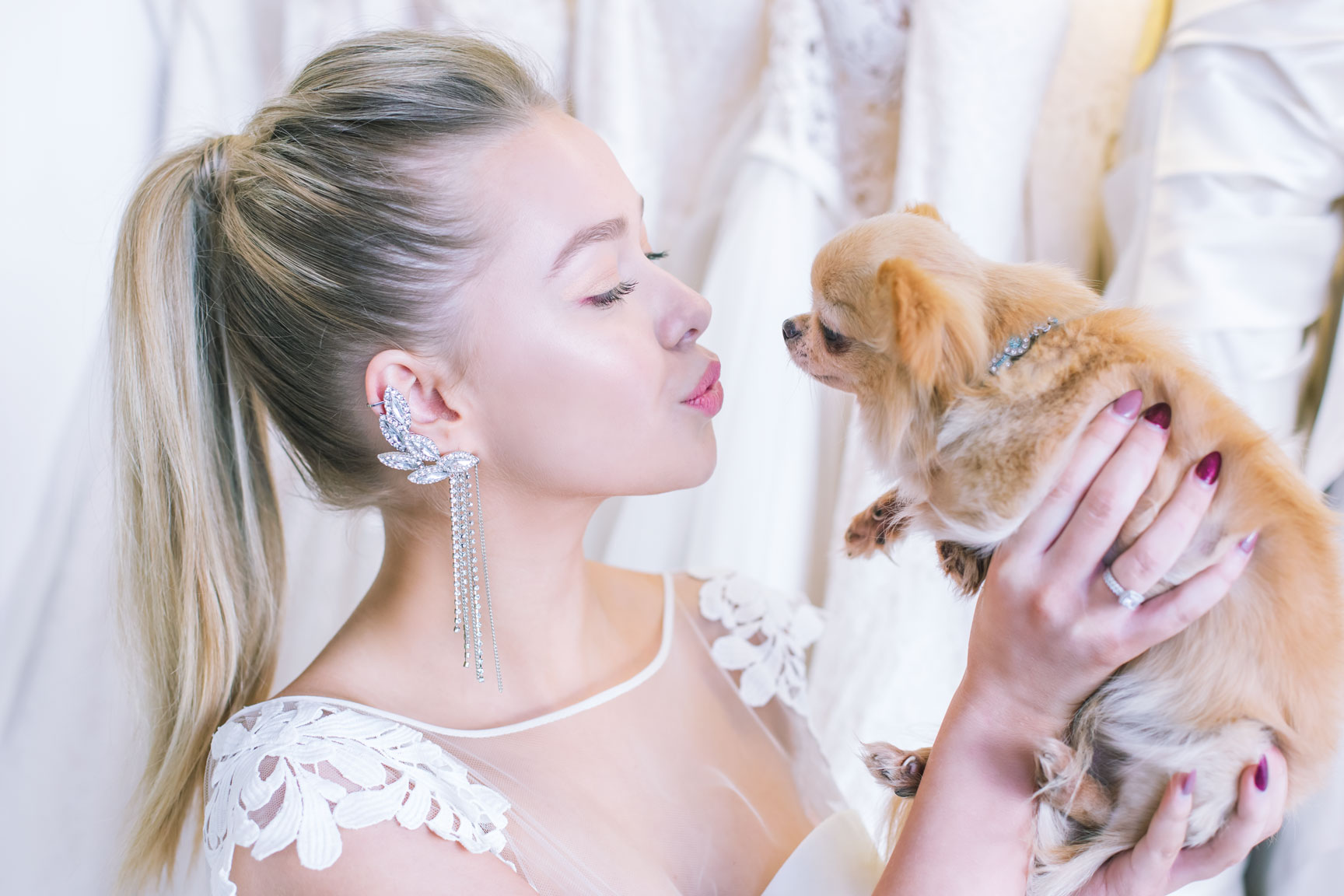 May & Grace Bridal - 3 alternative bridal looks - bride dog