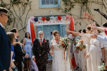 EmilyandGeoff-Nicki Shea- Photography-Circus Wedding-confetti