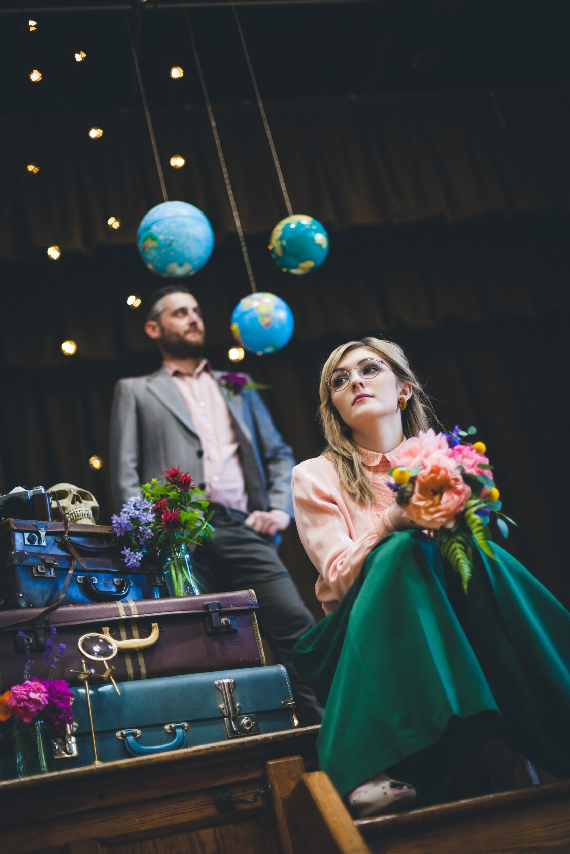 Curious Magpie-Science Geeks Wedding-Couple Suitcases