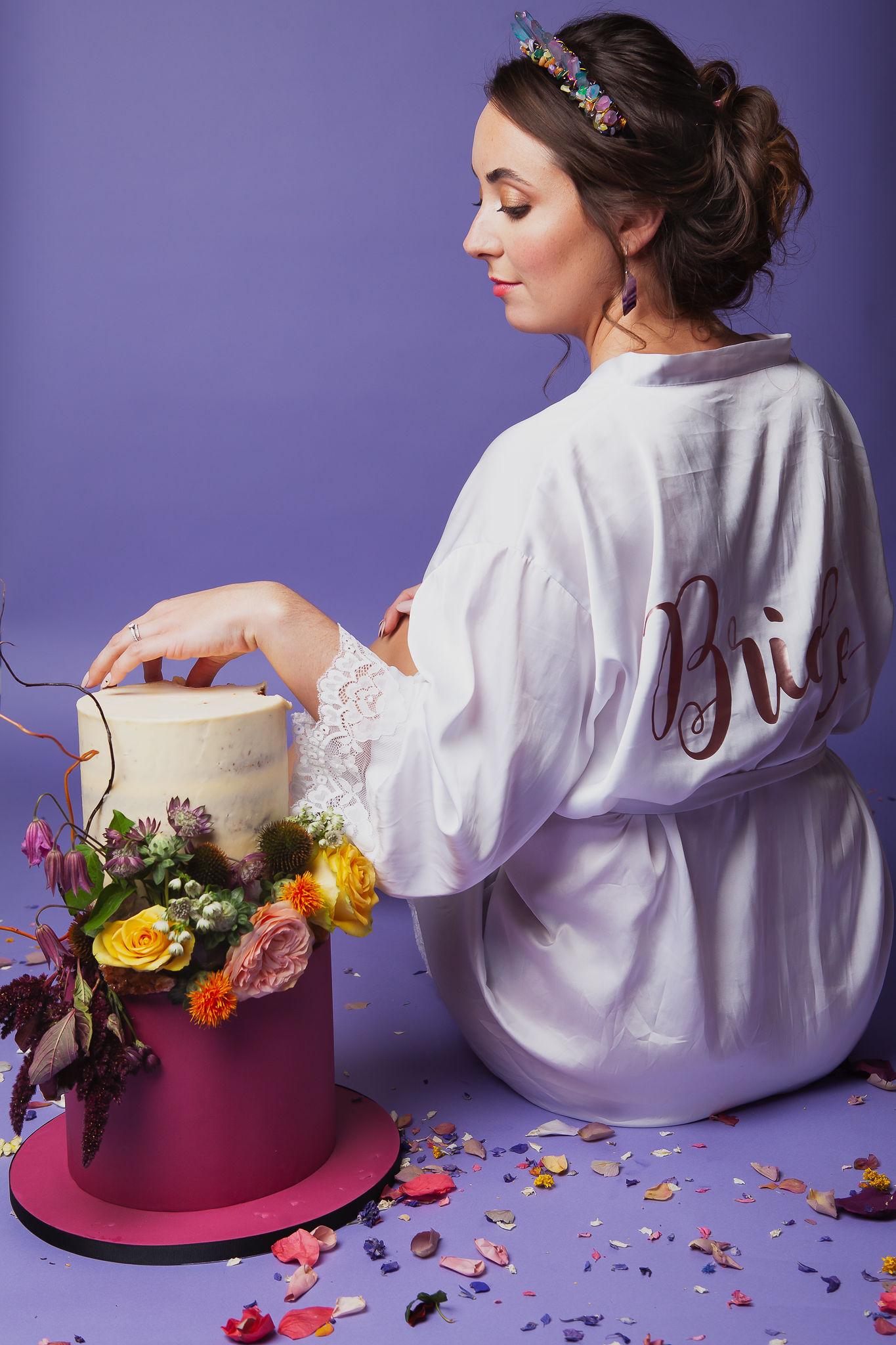 Abundance crystals- colourful wedding- dressing gown