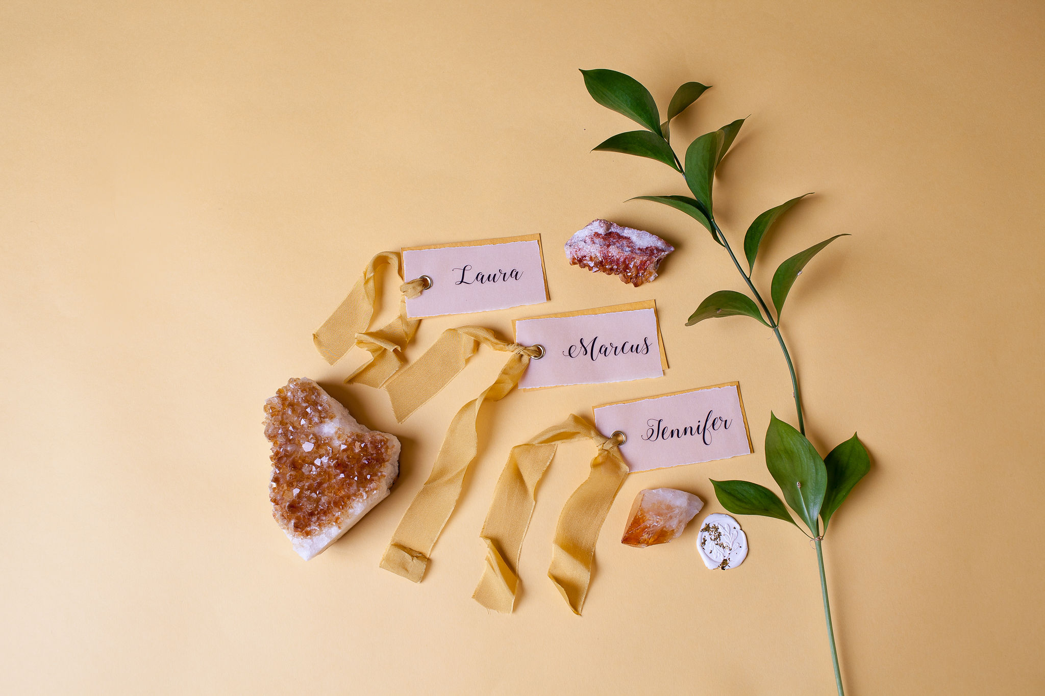 Abundance crystals- colourful wedding- name tags