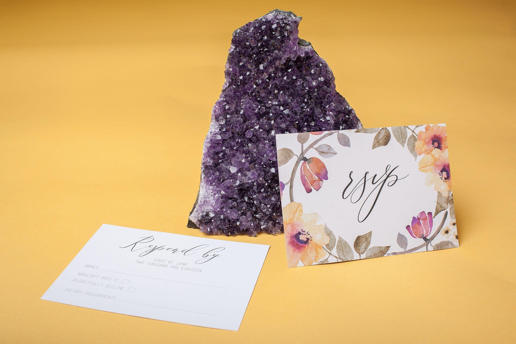 Abundance crystals- colourful wedding- stationery