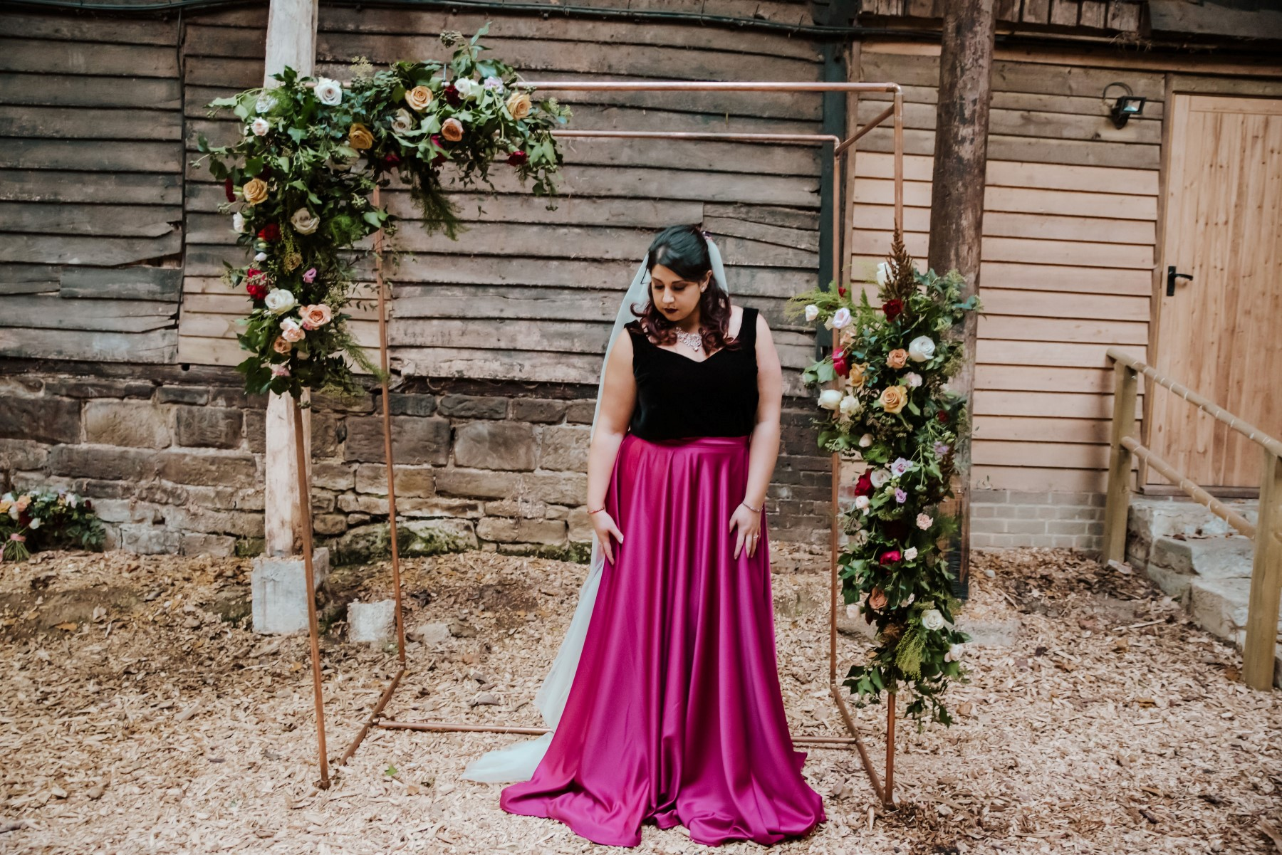 Roshni Photography- Barn Wedding Shoot- Bride Outside