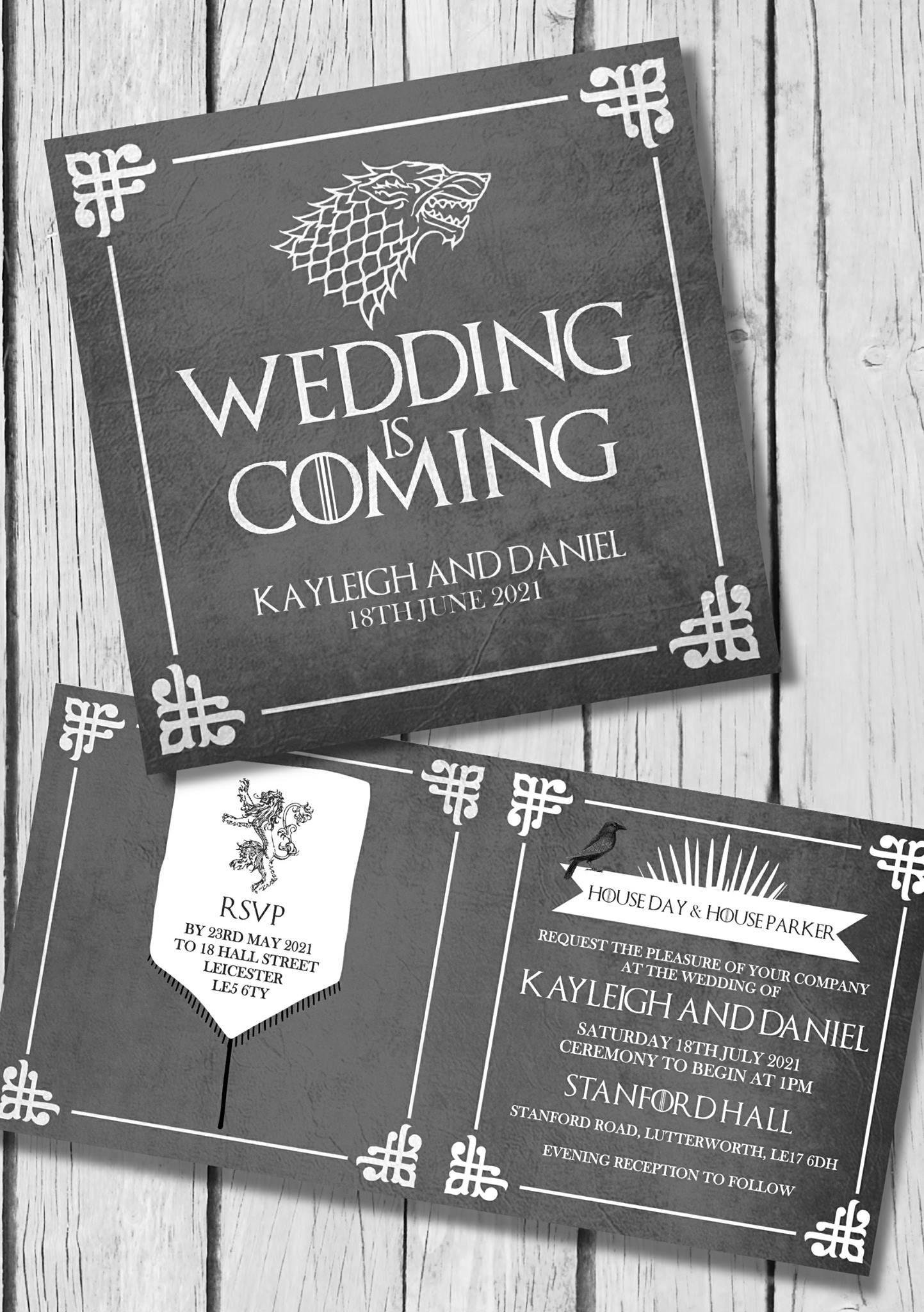 Prim and Glad Game of thrones wedding stationery
