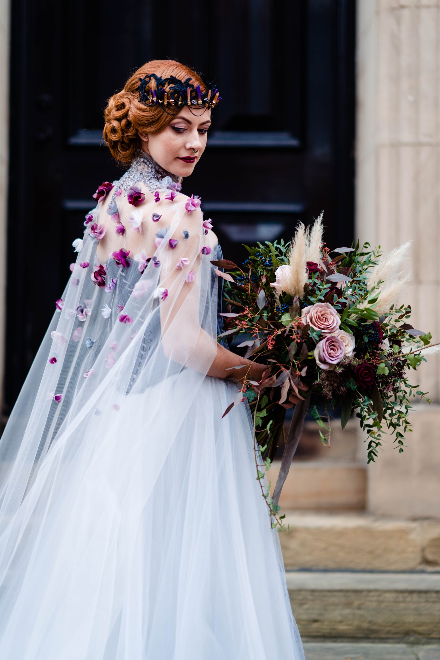 Vicki Clayson Photography - Dress Fiona Elizabeth Couture - Head piece Dolls Mad Hattery - Game of thrones wedding - alternative wedding 2