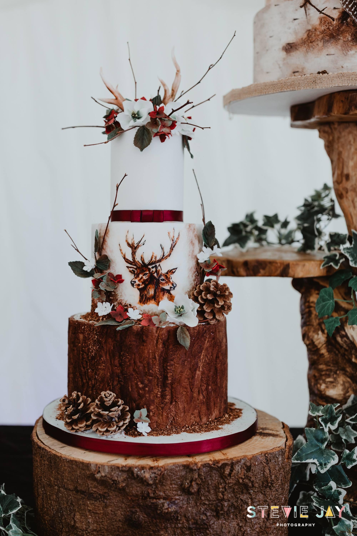 Debbie Gillespie Cake Design - Woodland wedding cake - unique wedding cake - different wedding cake - stag wedding cake - handpainted wedding cake - alternative wedding cake