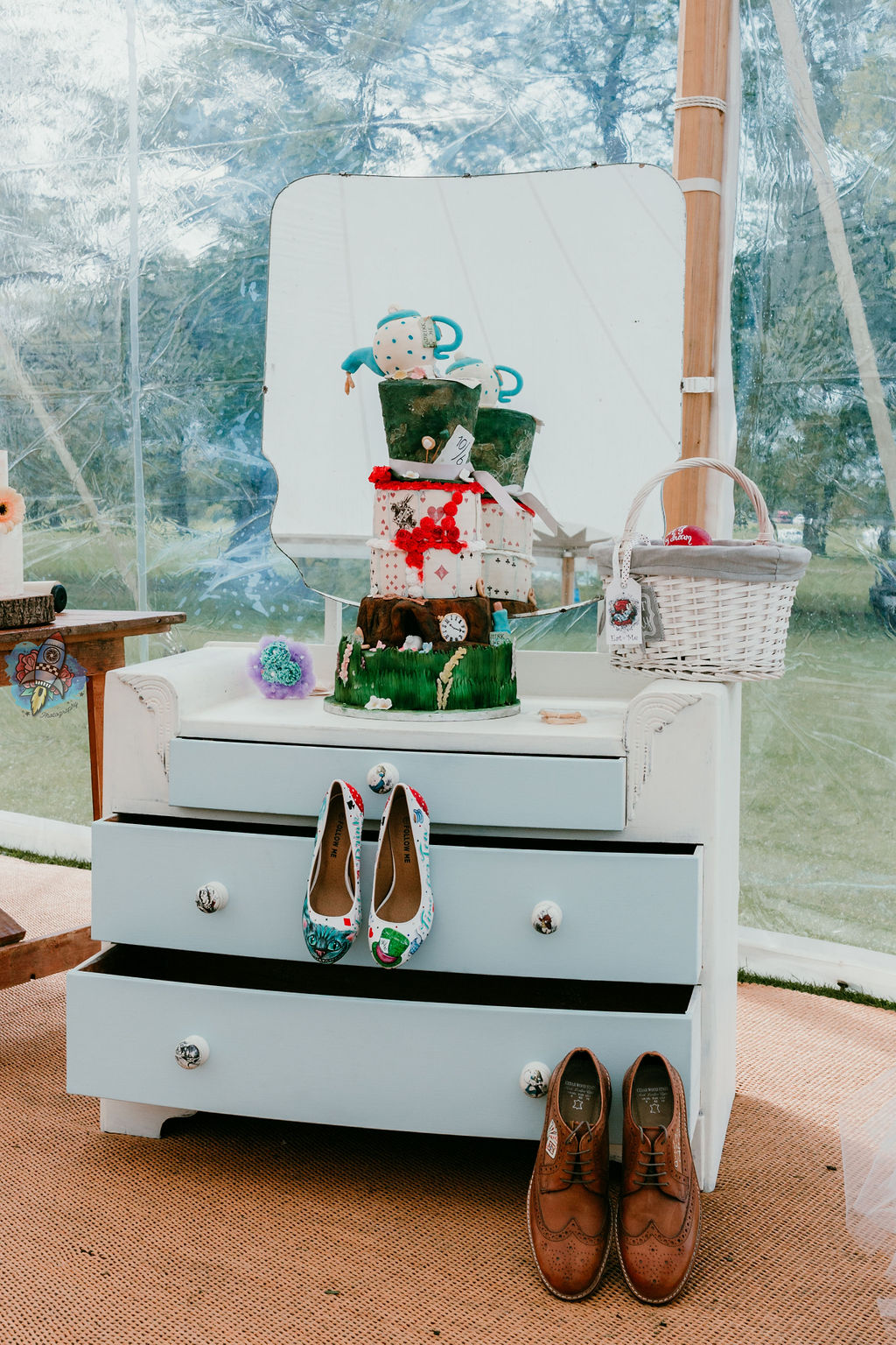 Confection of affection - quirky wedding cake - alice in wonderland wedding cake - creative wedding cake - leicester 1