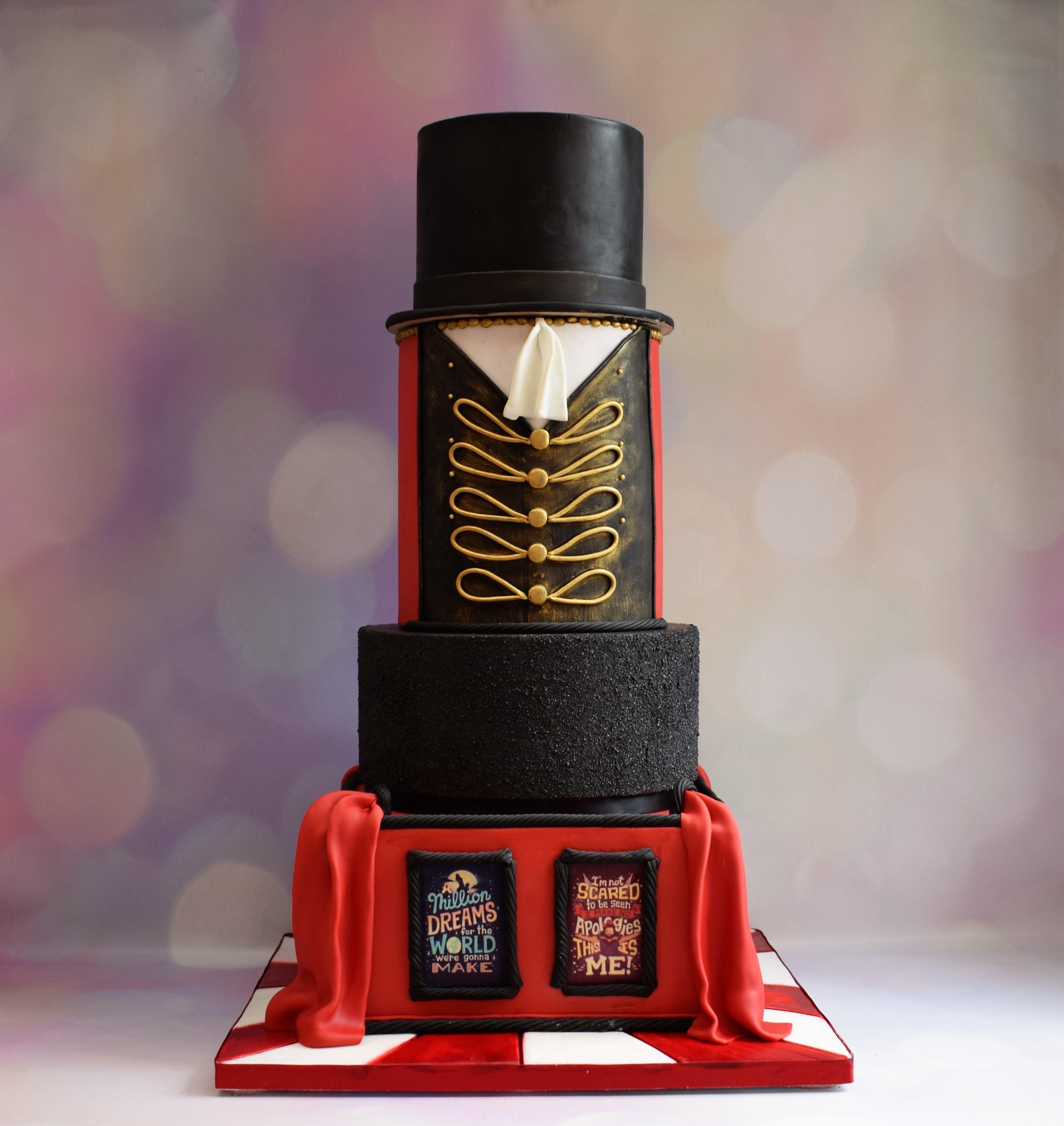 bake to the future - greatest showman wedding cake - circus wedding cake - creative wedding cake - different wedding cake