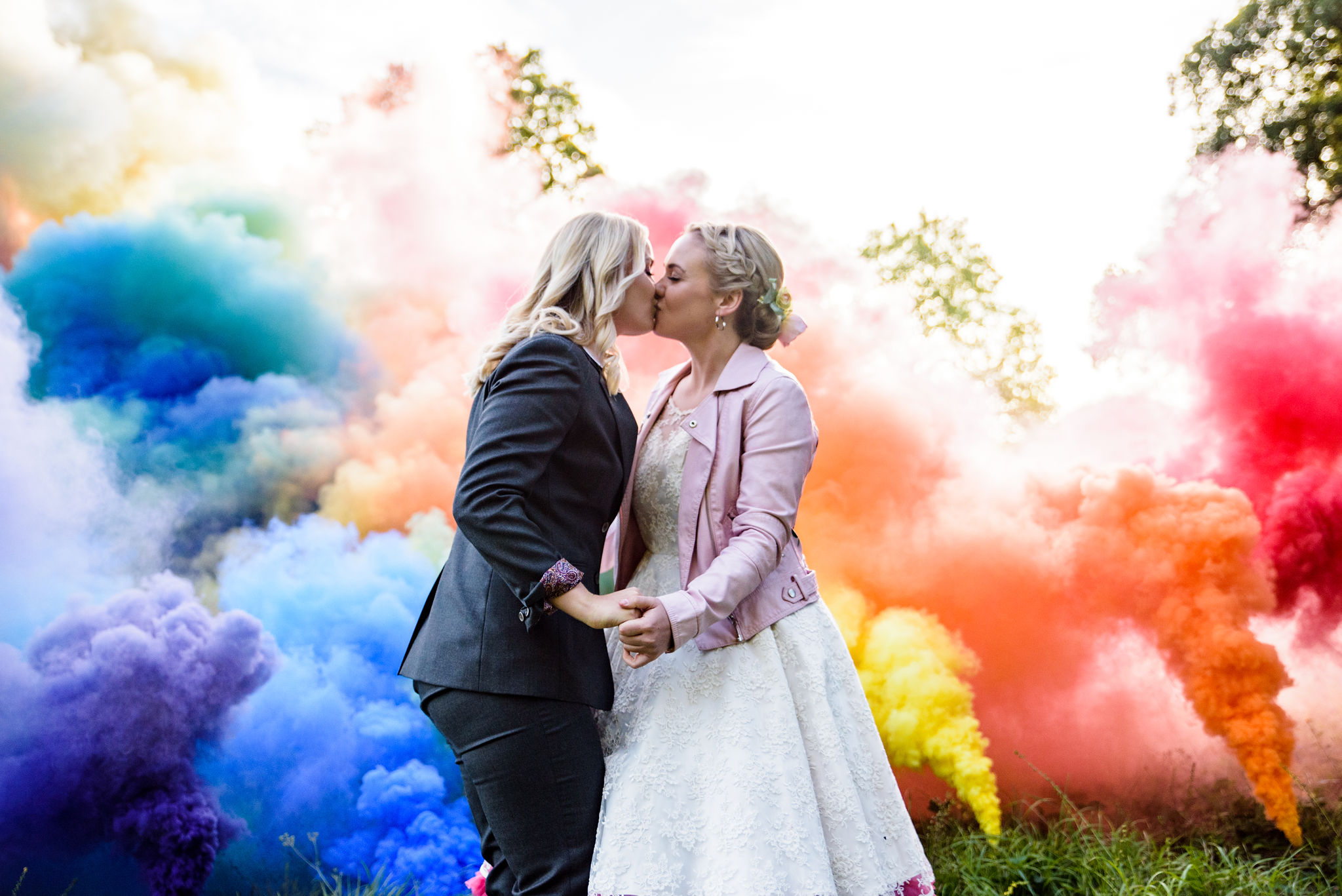 Chantelle Goble Photography - Rainbow wedding - same sex wedding - smoke bomb wedding