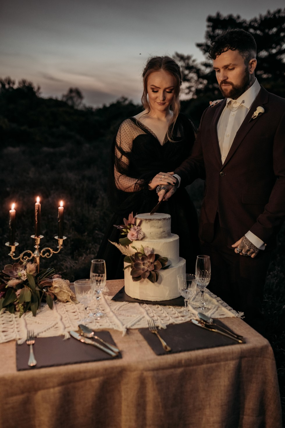 Finn And The Fox Photography-Moody Elopement Wedding- Gothic Wedding-Edgy Wedding- Unique Wedding