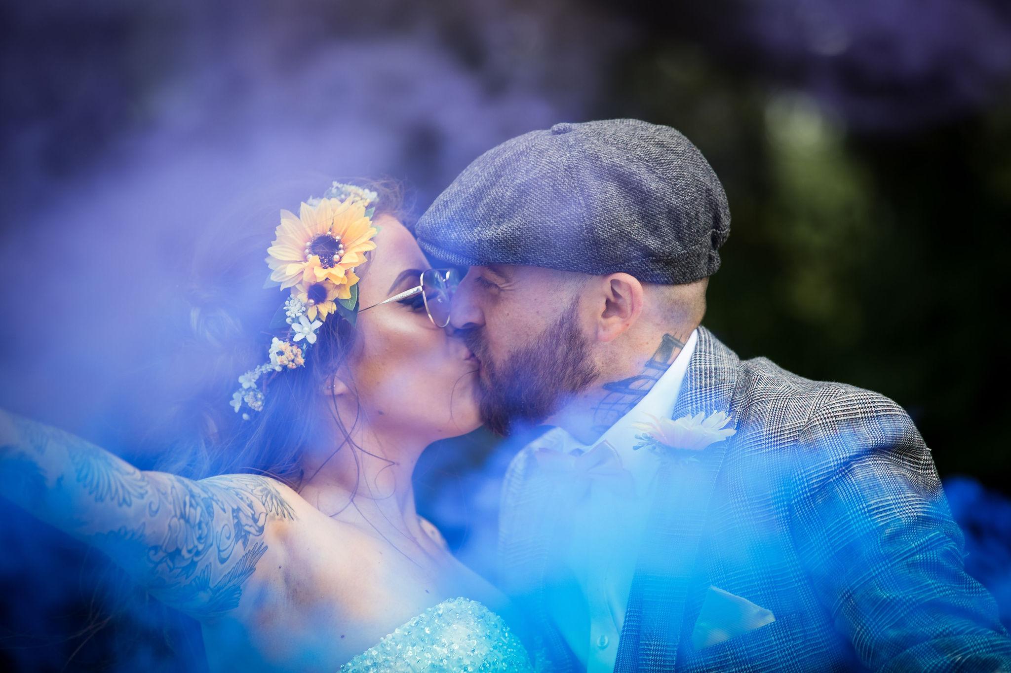 Harriet&Rhys Wedding - alternative wedding couple shot with smokebombs - tattooed bride