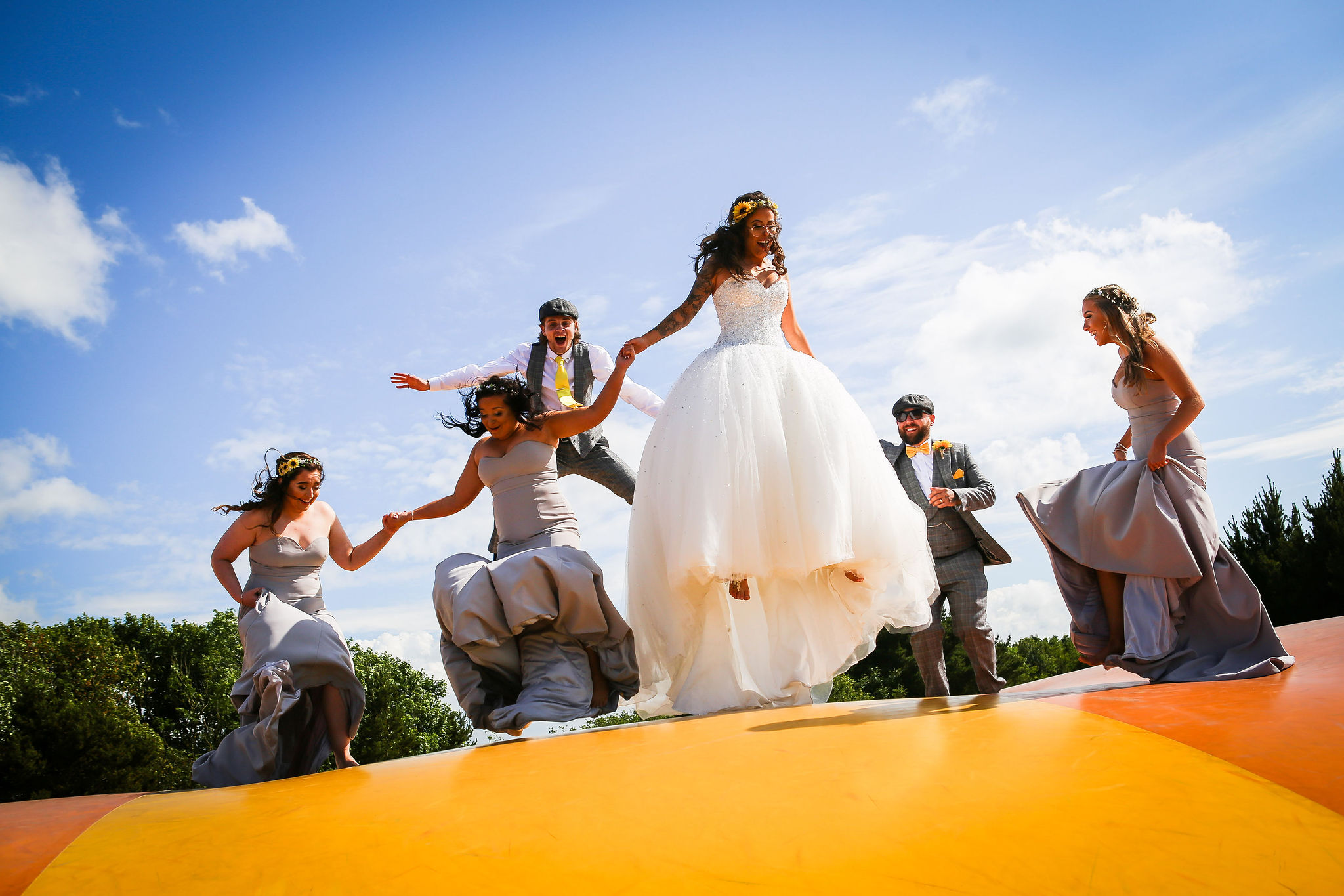 Harriet&Rhys Wedding - Magical sunflower wedding - quirky wedding with bouncy castle