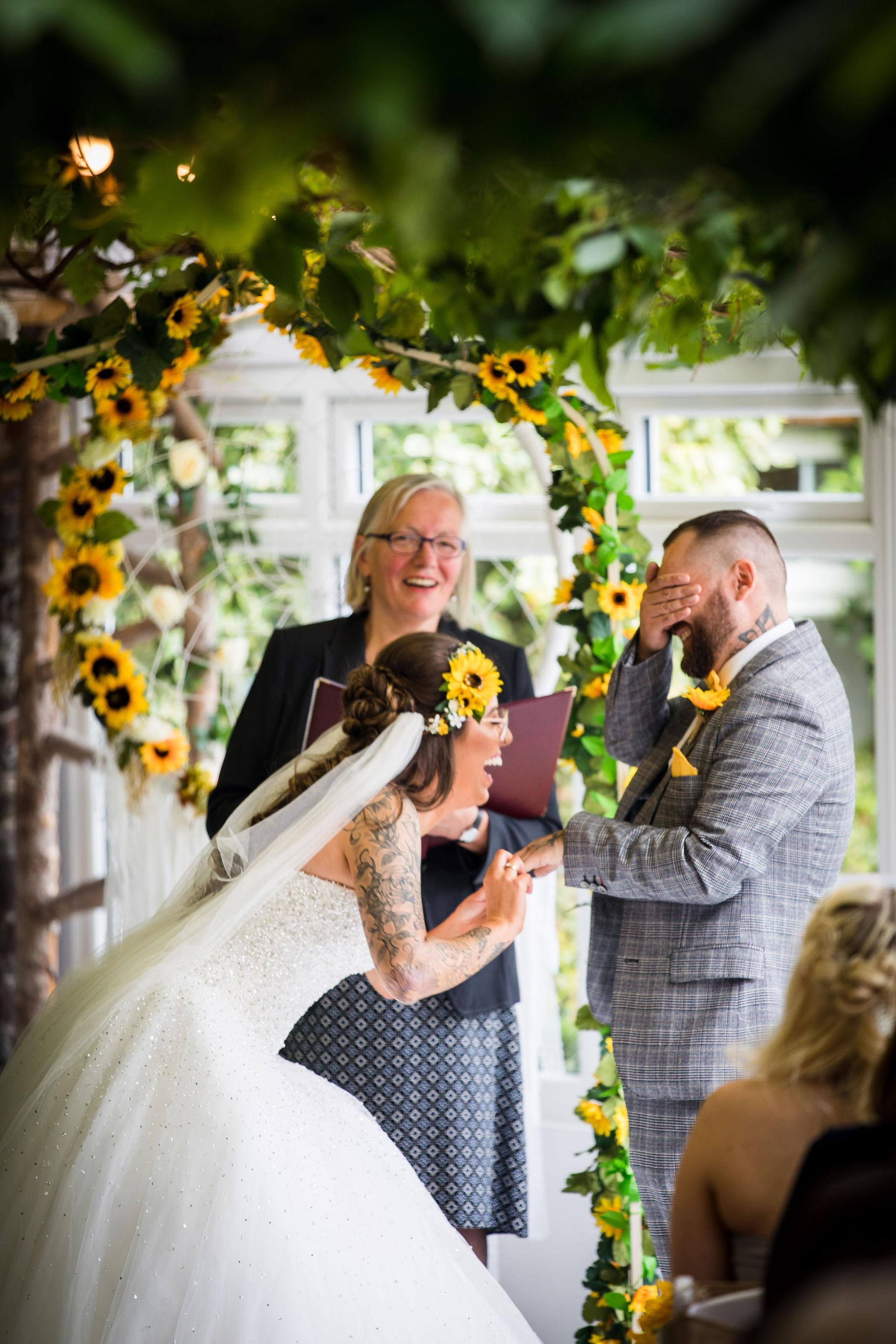 Harriet&Rhys Wedding - Magical sunflower wedding - quirky wedding with dodgems (26)