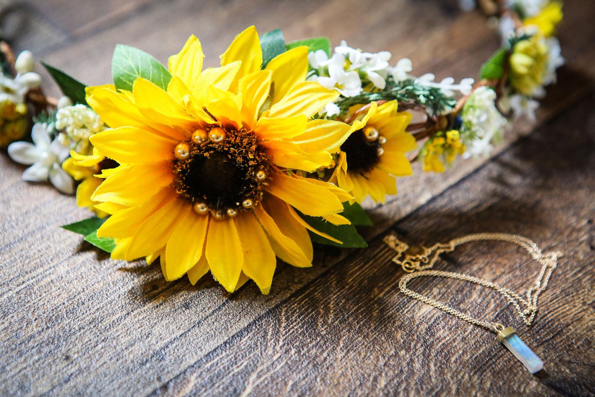 Harriet&Rhys Wedding - sunflower flower crown