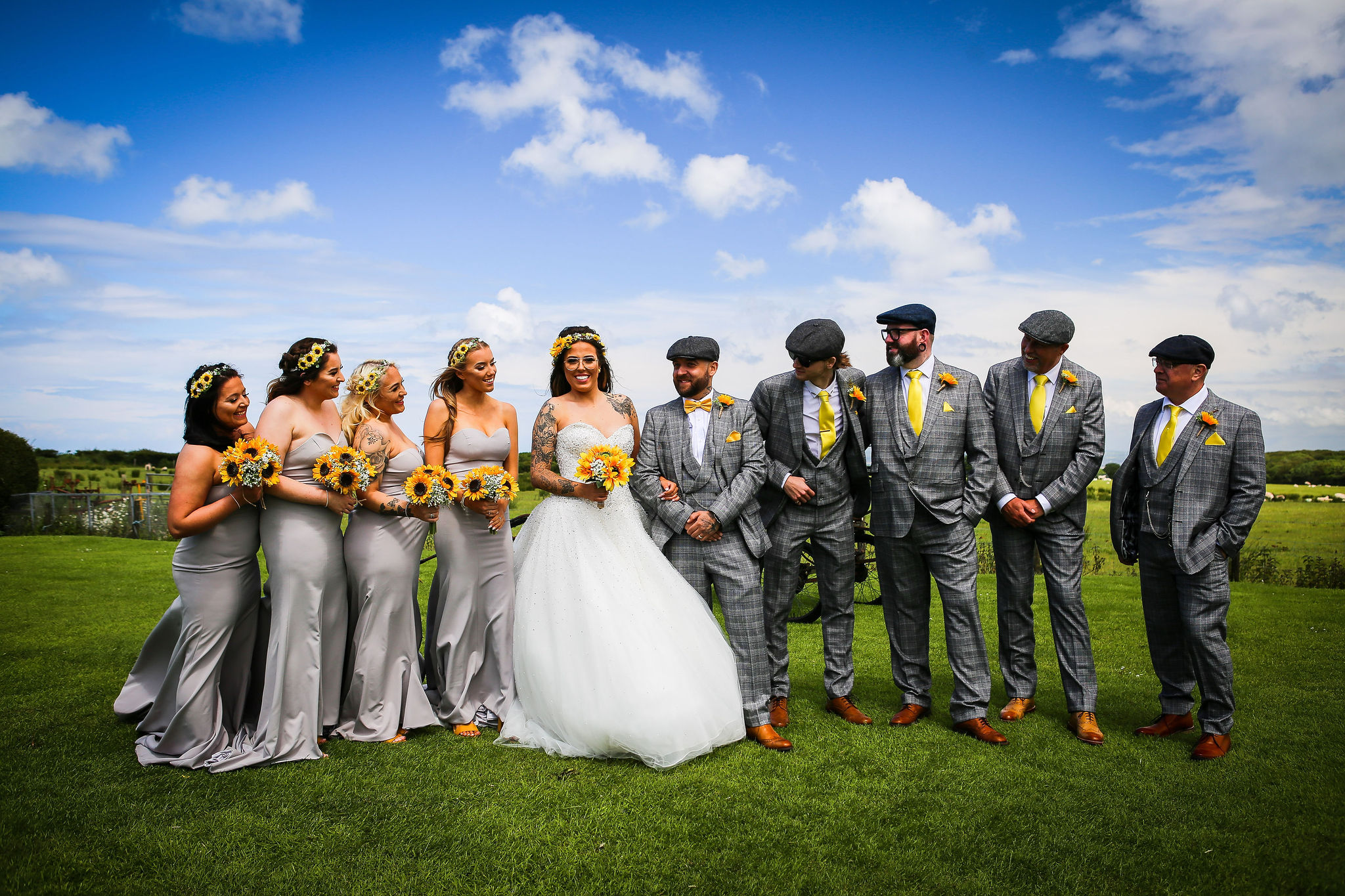 Harriet&Rhys Wedding - Magical sunflower wedding - bridal party show with sunflowers