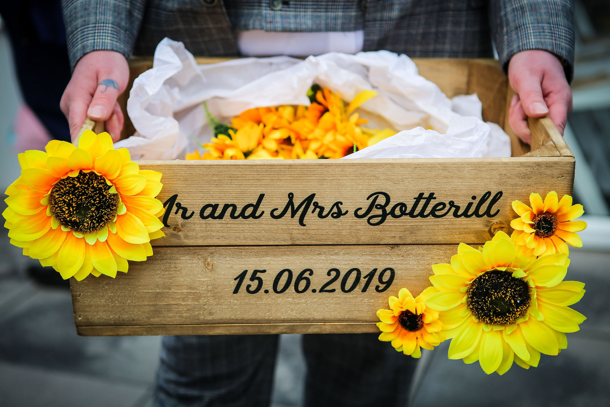 Harriet&Rhys Wedding - Magical sunflower wedding -wooden mr and mrs crate with sunflowers