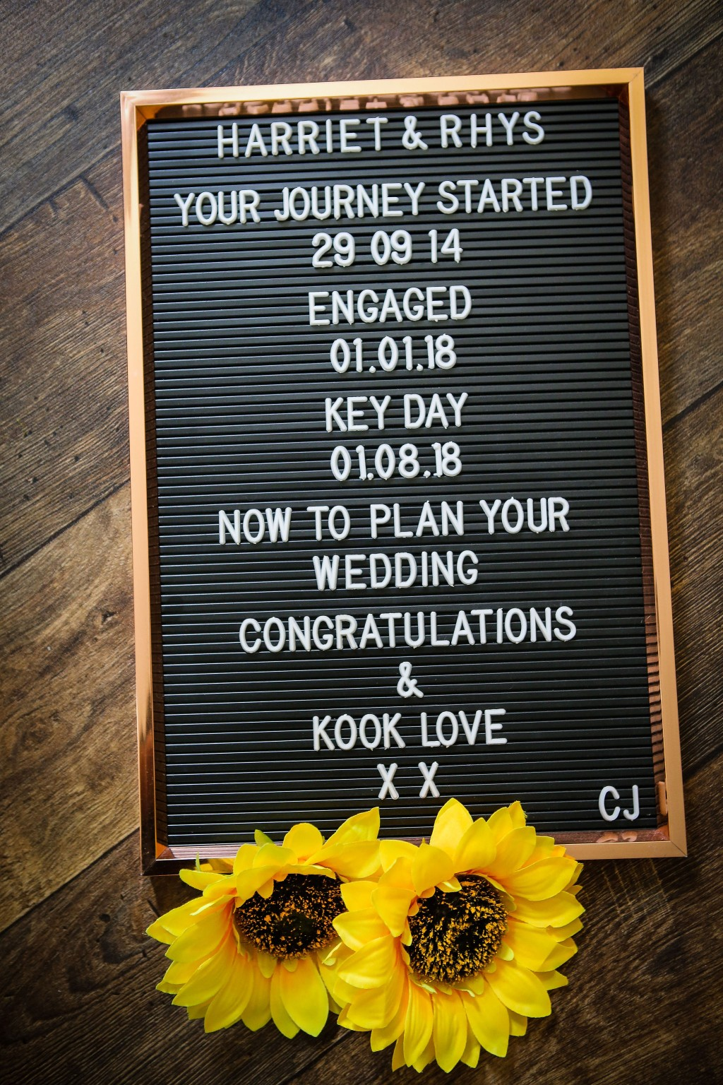 Harriet&Rhys Wedding - Magical sunflower wedding - sunflower key events timeline