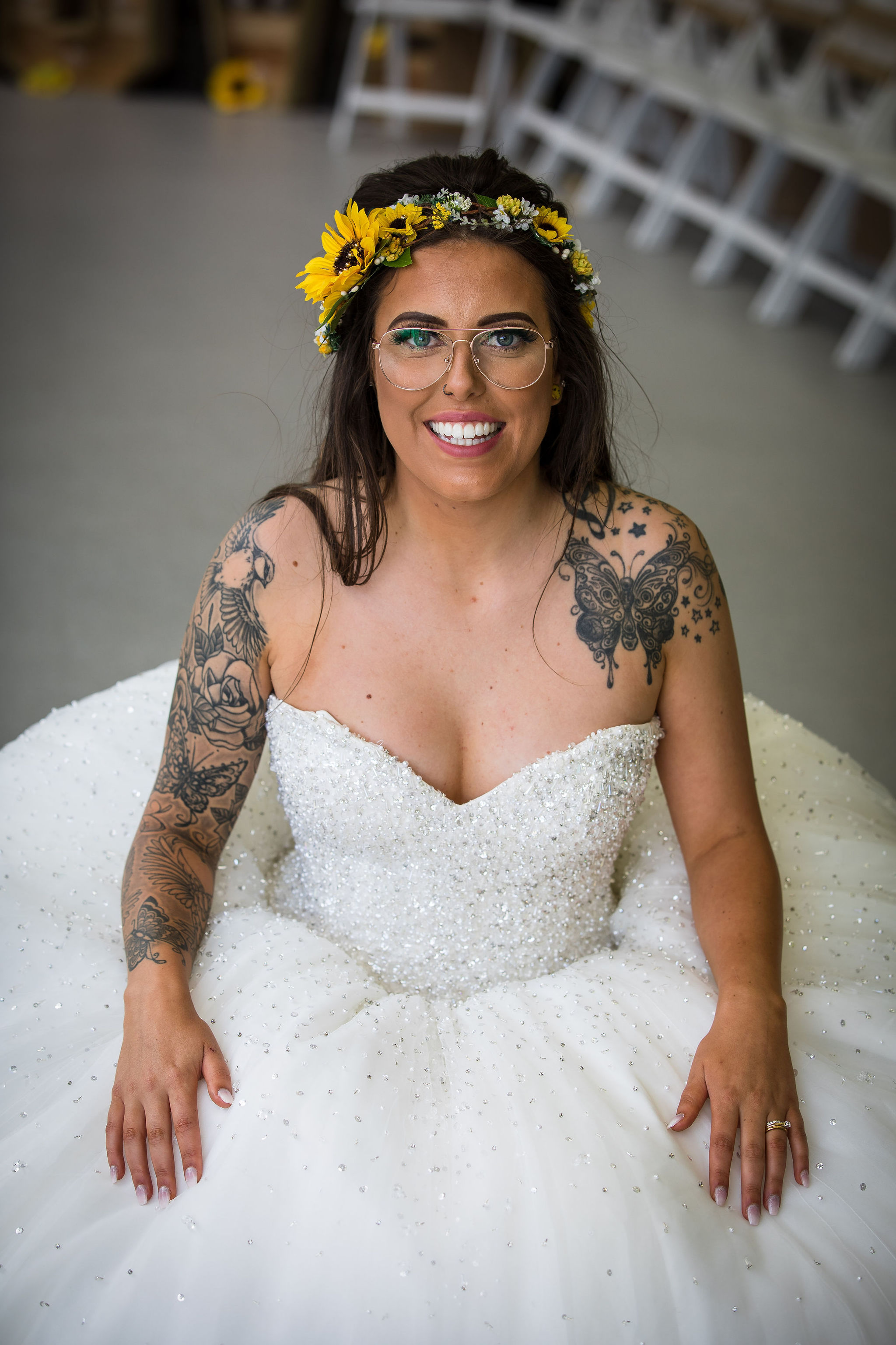 Harriet&Rhys Wedding - Magical sunflower wedding - tattooed bride inspiration